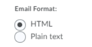 A snapshot of the Email Format section is shown with HTML selected and Plain Text not selected.