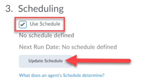 """The Scheduling section is shown with a red box surrounding the checked box """"Use Schedule"""". An arrow points to the Update Schedule button."""