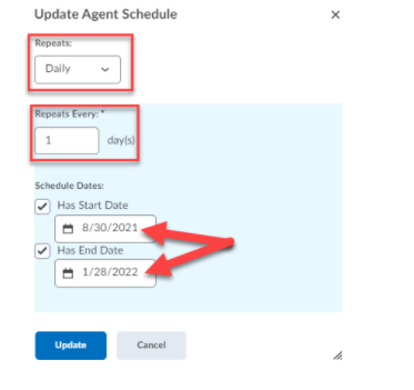 The Update Agent Schedule section is shown with red boxes surrounding Repeats and Repeats Every fields. Arrows point to the Has Start Date and Has End Date calendar fields.
