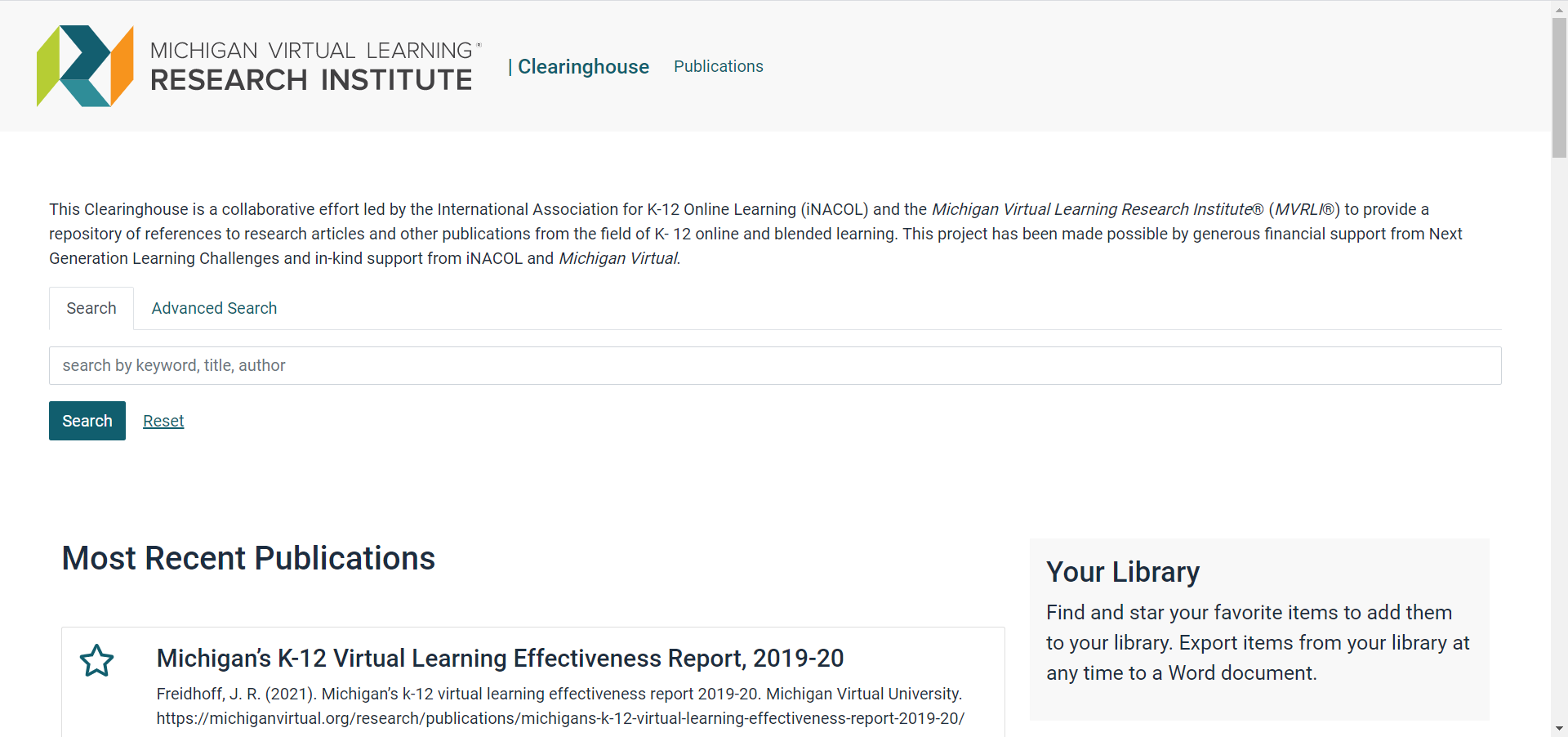 Image of the Research Clearinghouse landing page.