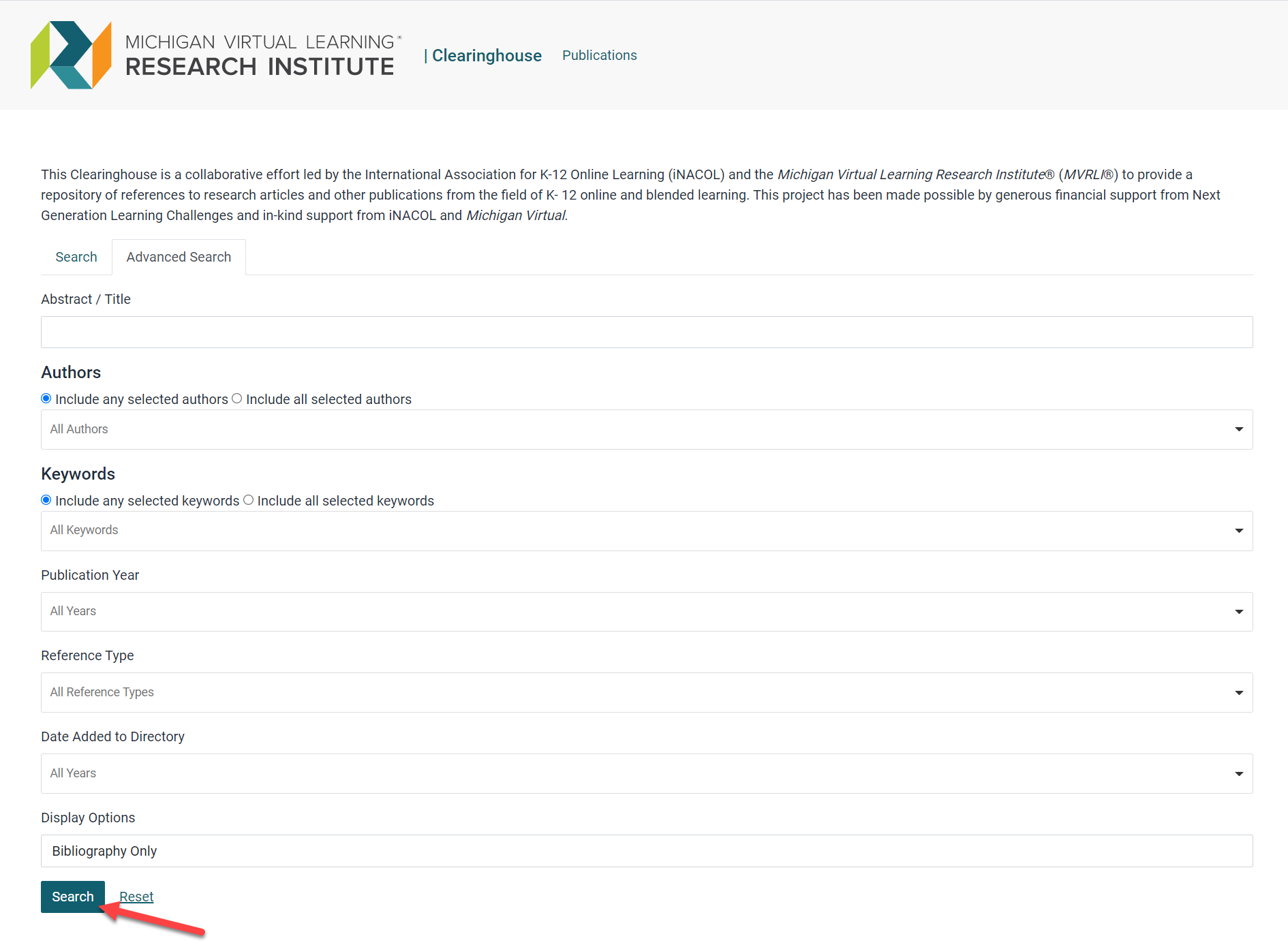 Image of the advanced search fields within the Research Clearinghosue.
