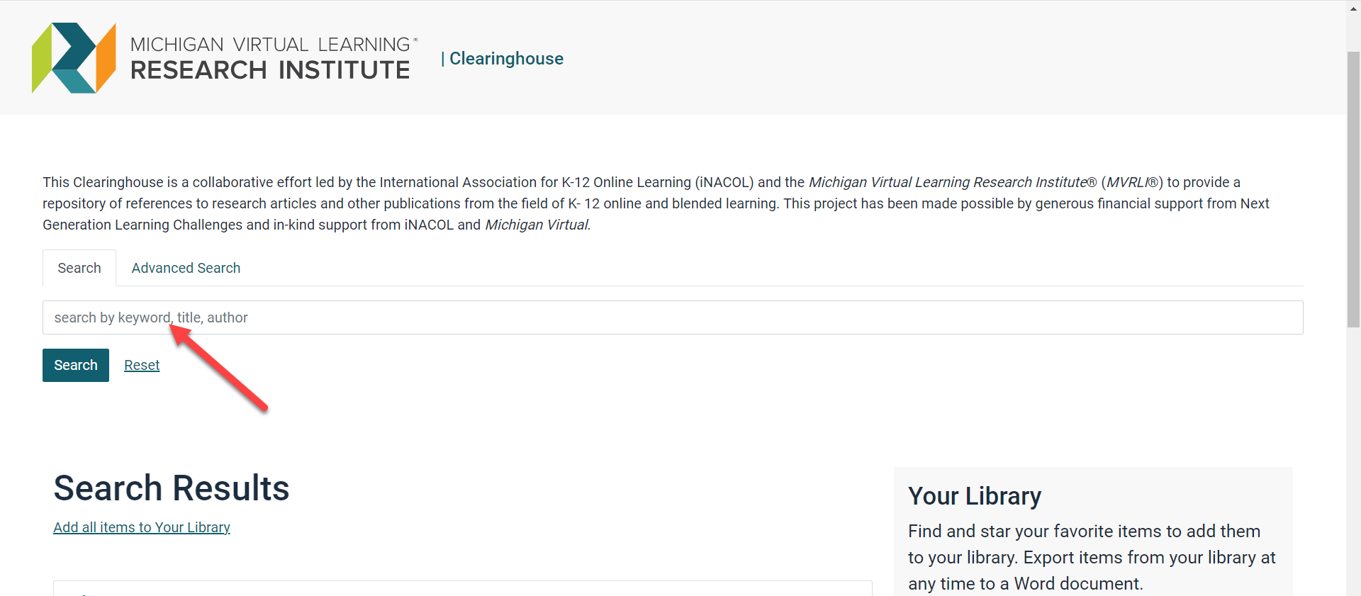 Image of the Clearinghouse homepage with an arrow pointing to the search field below the Search tab.