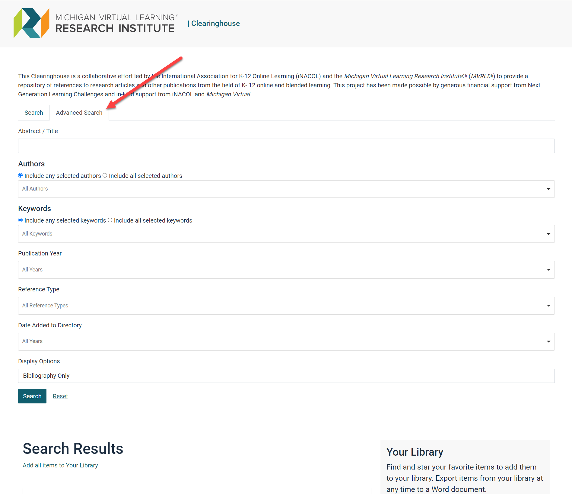 The Advanced Search tab is selected with an arrow pointing to it at the top of the page. Fields shown are as outlined below. The Search Results and Your Library sections are also displayed at the bottom of the page.
