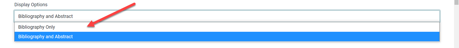 The Display Options field is shown with an arrow pointing to the drop-down options.