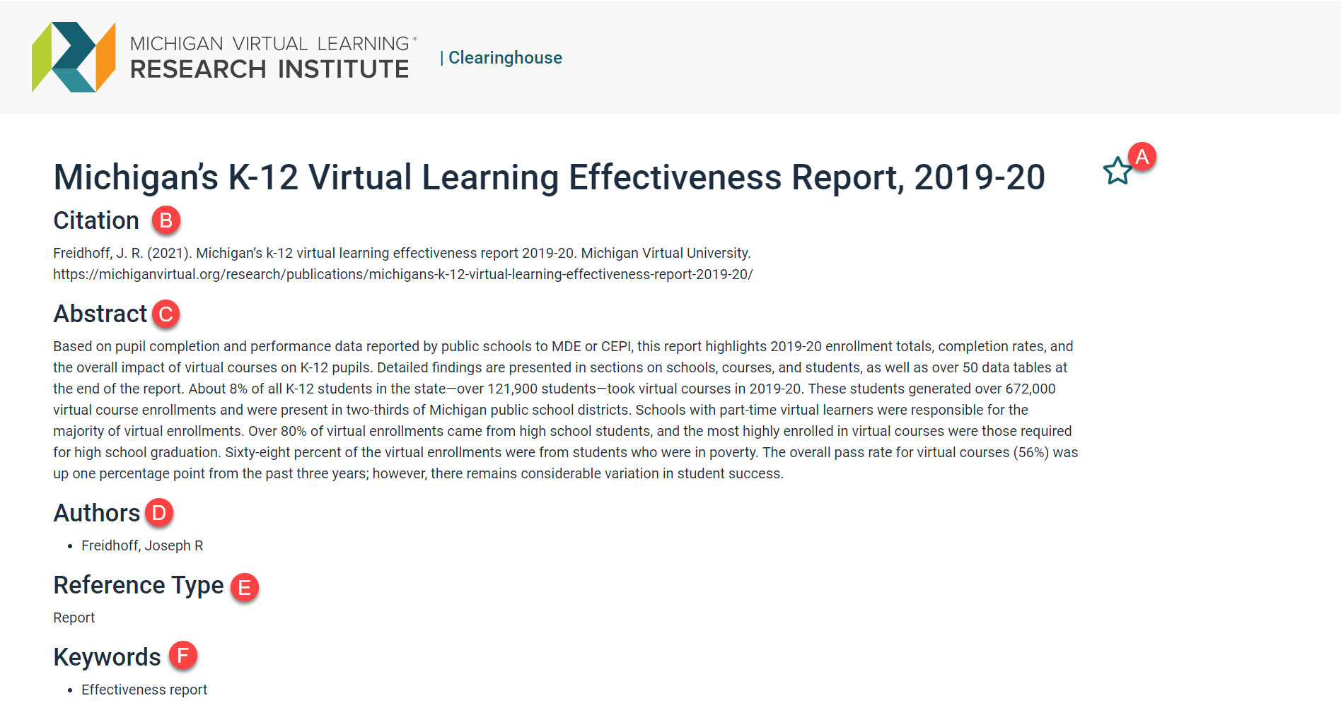 The Record is sown for Michigan's K-12 Virtual Learning Effectiveness Report. Stamp A is shown to the right of this title. Stamp B is displayed next to Citation below the title. Stamp C is located under citation text. Stamp D is shown next to Authors. Stamp E is displayed next to Reference Type and stamp F is located next to Keywords.