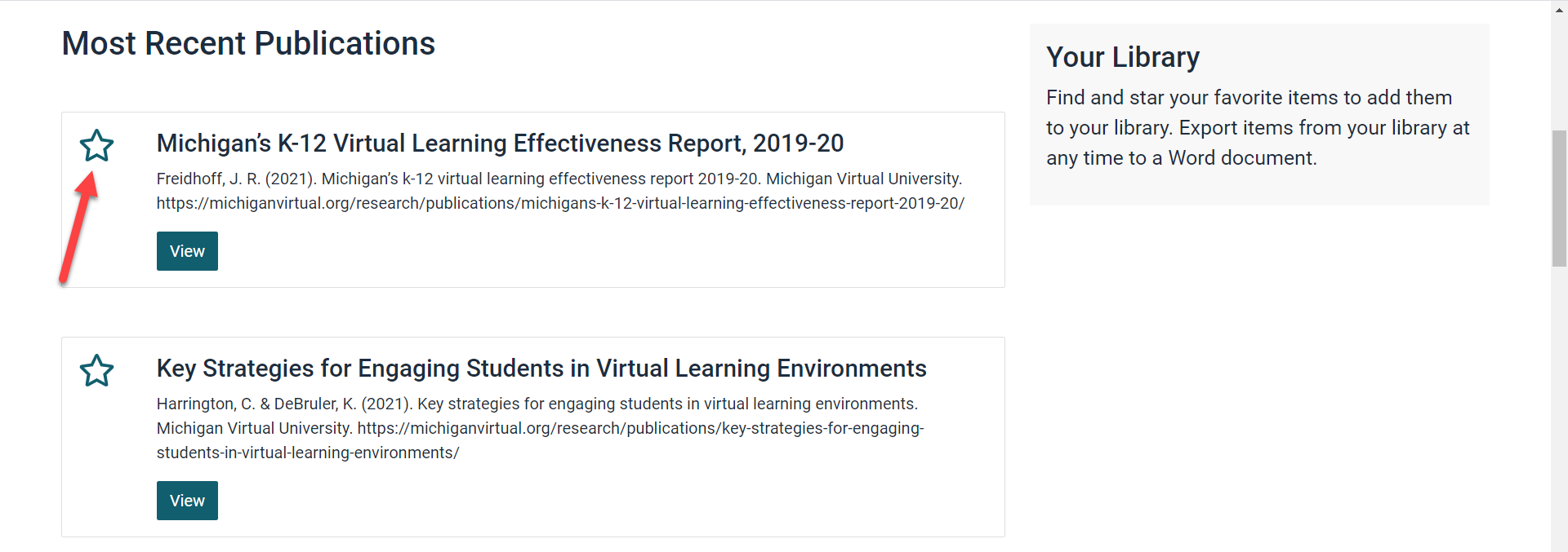 The Most Recent Publications list is shown with an arrow pointing to the star located to the left of the article title.