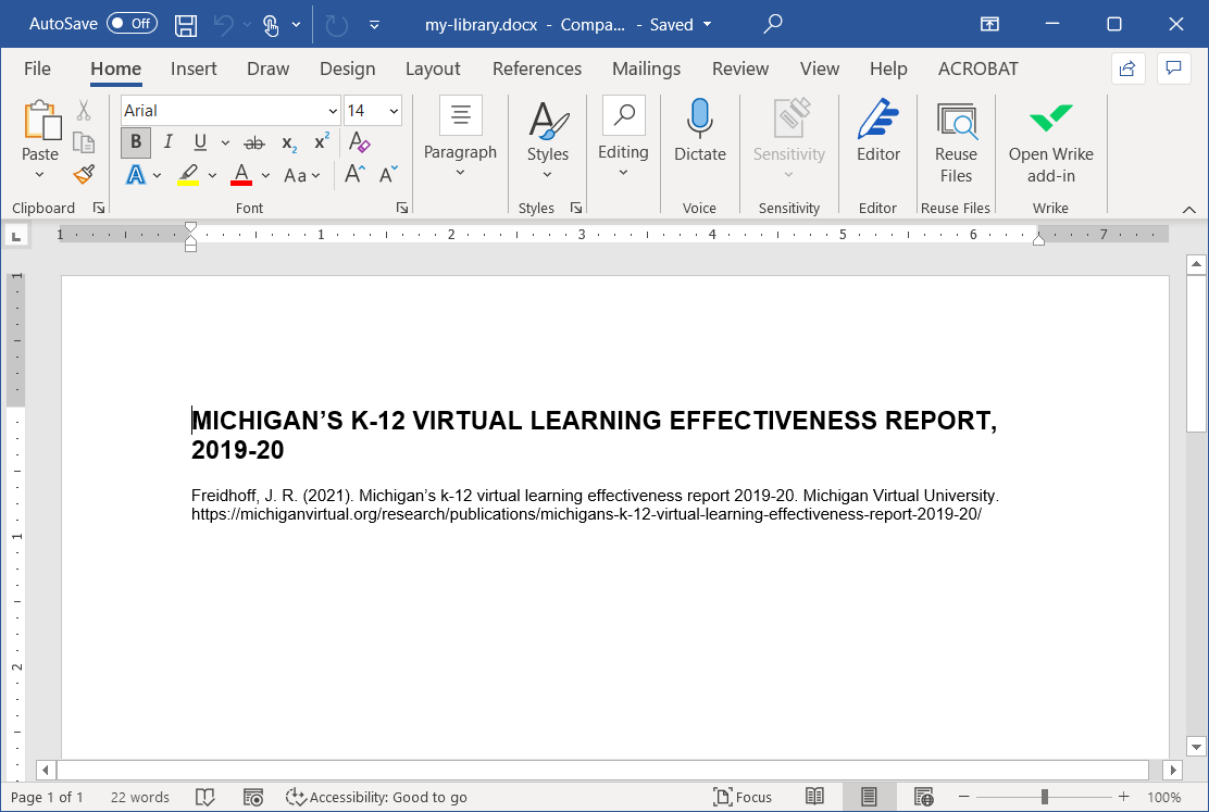 Image of Microsoft Word document that contains the Michigan's K-12 Virtual Learning Effectiveness Report citation.
