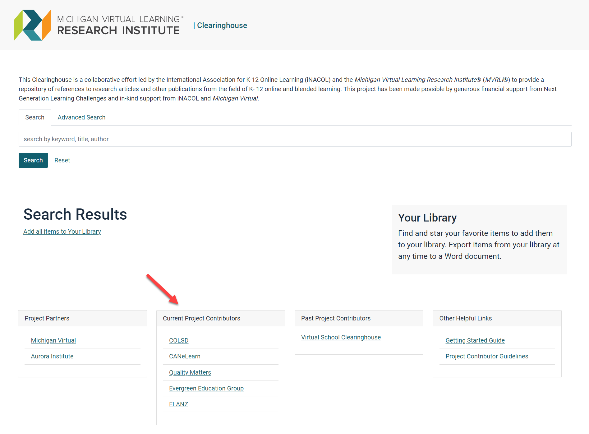 Within the Clearinghouse landing page the image shows an arrow pointing to current project contributors listed in a table at the bottom of the page.
