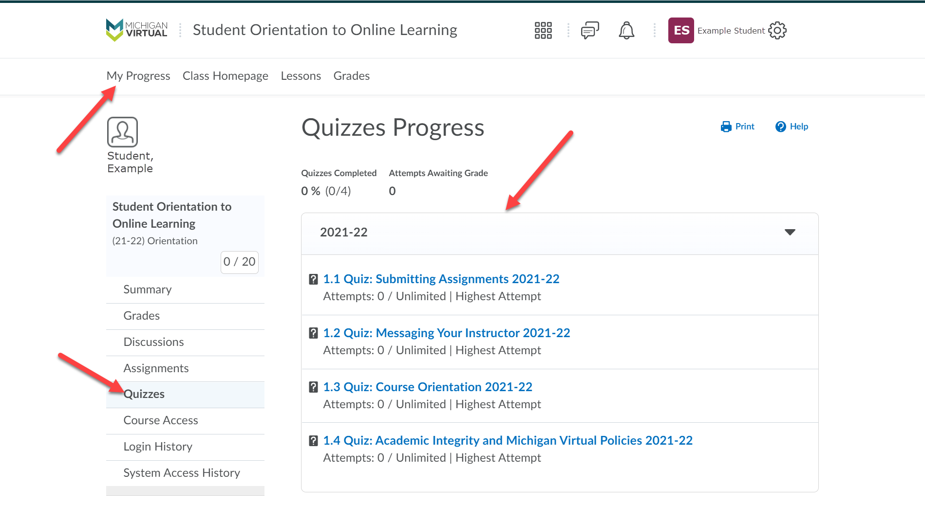 This image shows the Quizzes Progress page. Arrows point to the My Progress tab (top), Quizzes option (left menu) and another to the Quizzes Progress breakdown.