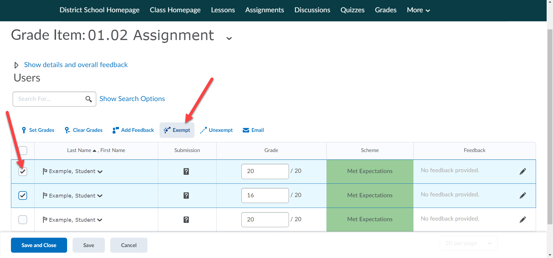 The Grade Item page is shown with a table listing students. Arrows point to the select, checkbox, column and to the Exempt button above the table.