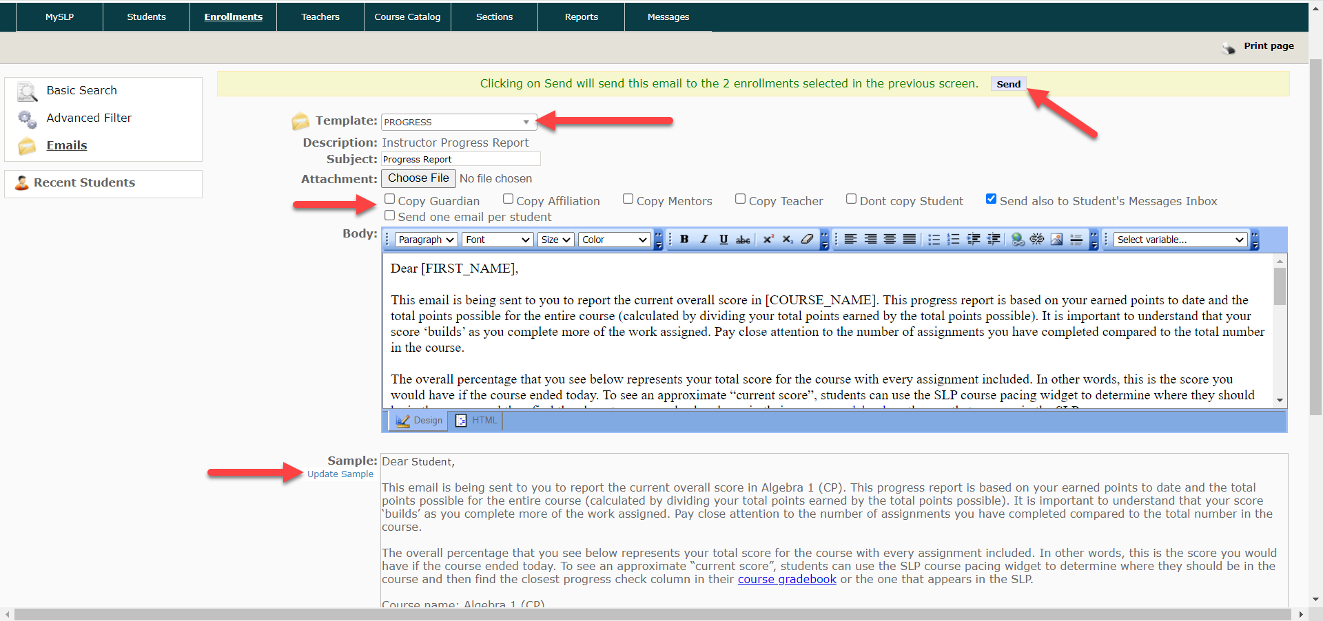An Image of the template email page is shown. Arrows point to the template drop-down, to the carbon copy checkboxes, the update sample link and to the Send button at the top of the page.