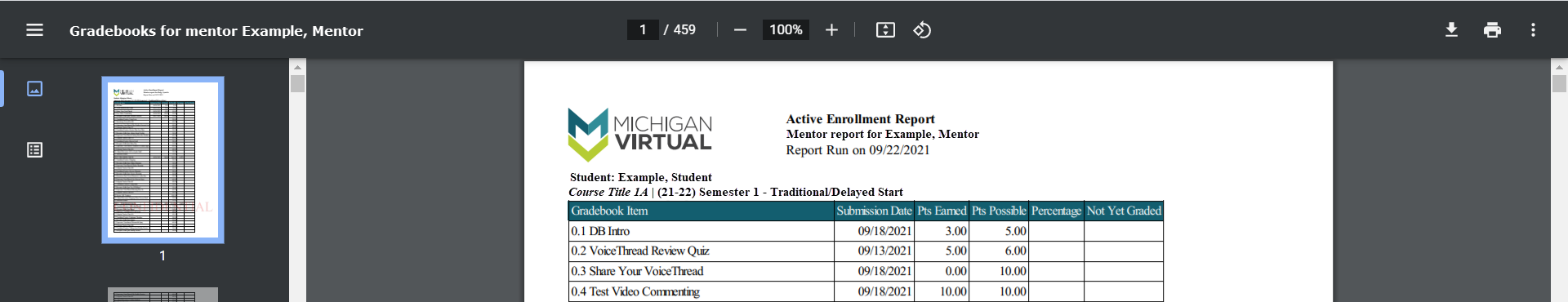 Image of the Mentor Gradebook report for an example mentor is shown displaying multiple pages to navigate. The Download and Print icons appear on the top right of the PDF and the page images are shown on the left menu.