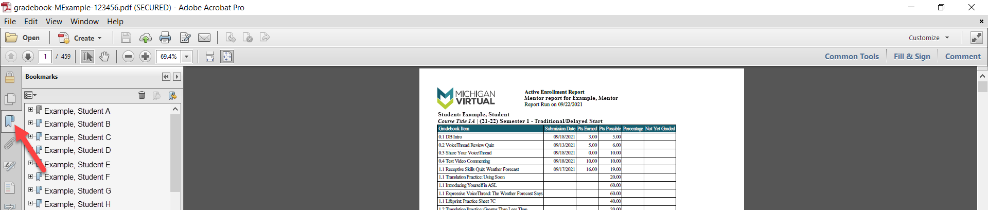 A downloaded PDF of the Mentor Gradebook report is shown. An arrow points to the Bookmark icon next to a list of the student example names.