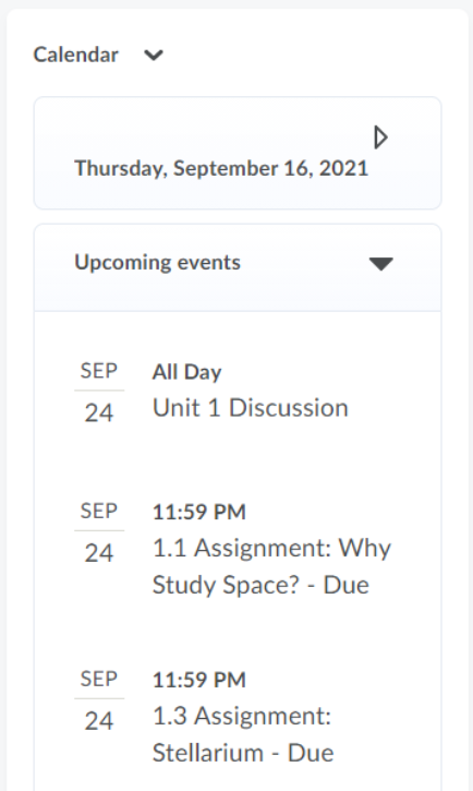 The Calendar section is shown with the date and upcoming events expanded. There are three events shown.