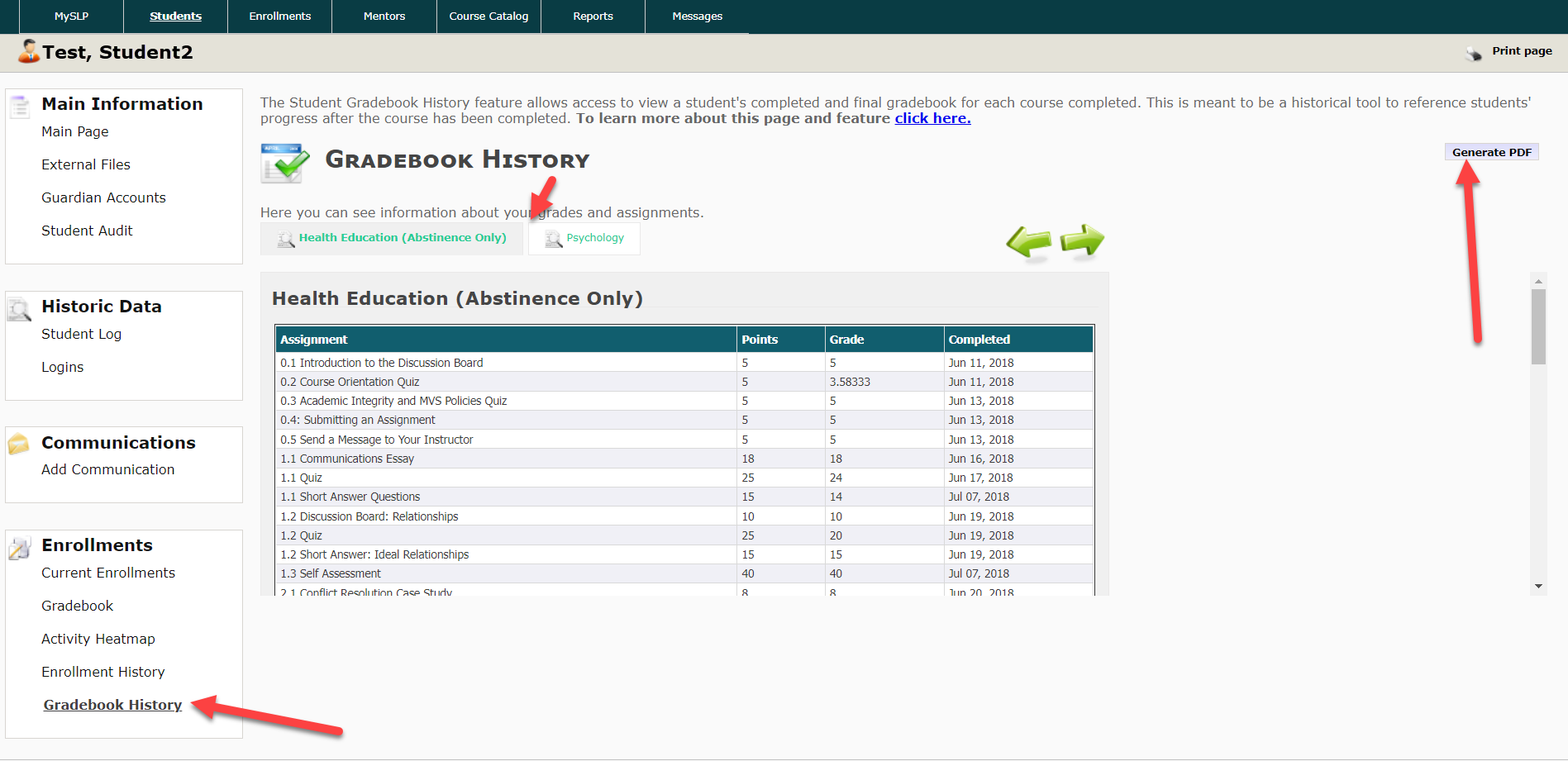 The Gradebook History page is shown with a table listing assignments, points associated, grade and completed date. Arrows point to the Gradebook History option under the Enrollments section in the left menu, to the course tabs and finally to the Generate PDF button located at the top right corner of the page.