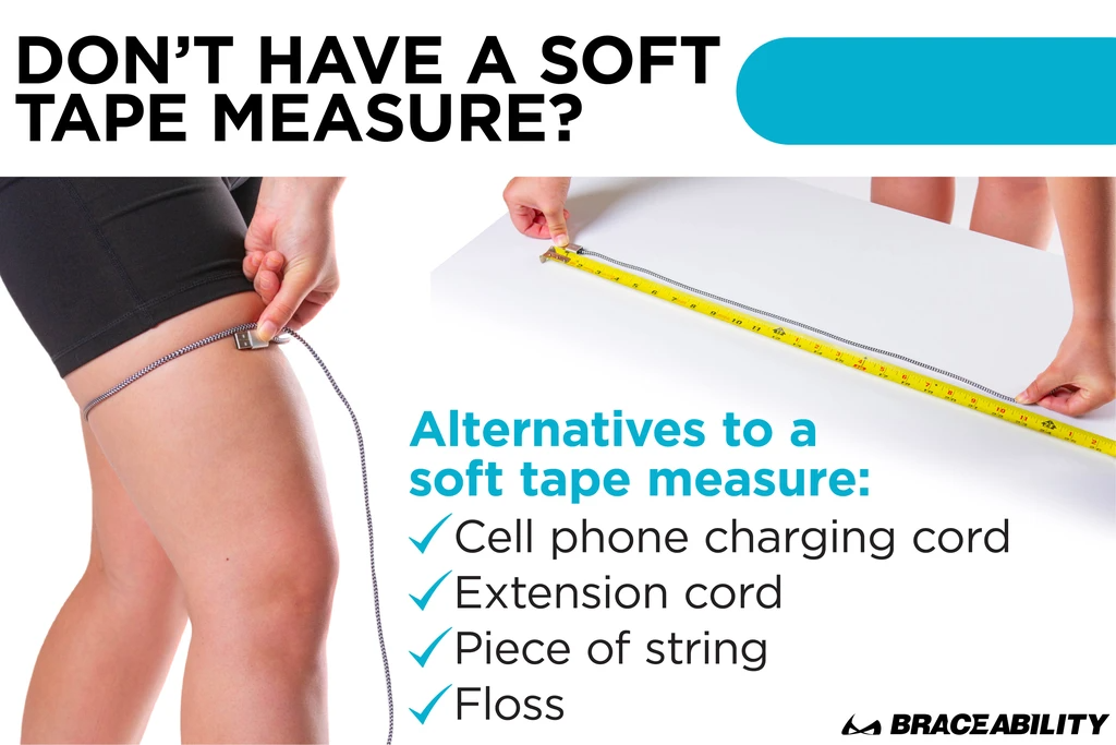 if you don't have a fabric tape measure when measuring for a knee brace use a phone cord or string