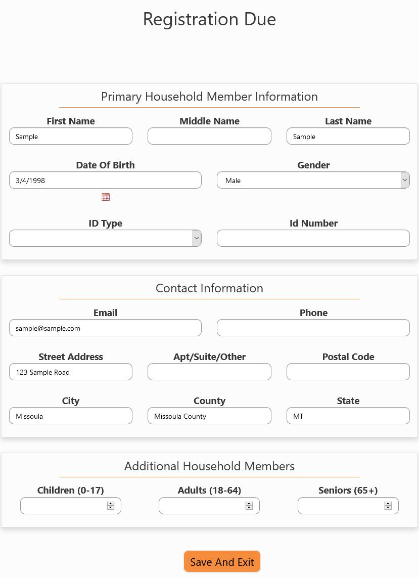 Registration Due Form