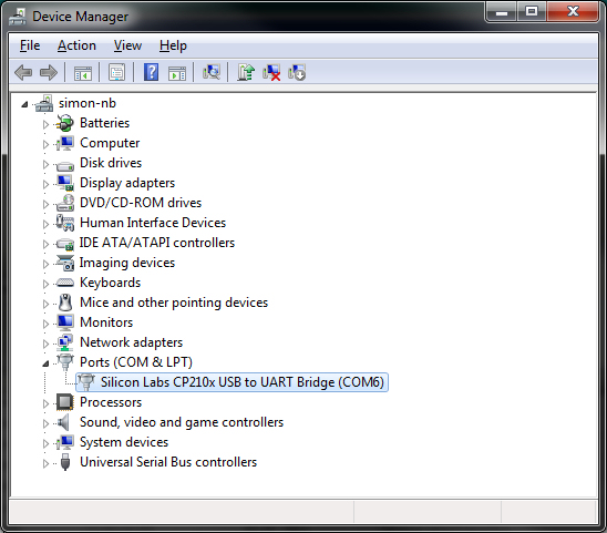 Windows 7 device manager console showing virtual com port