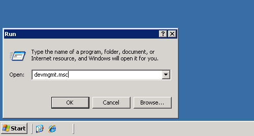 Windows XP run box with command entered