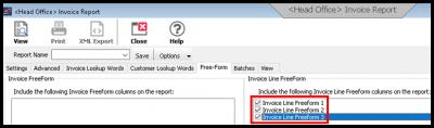 Figure 13. Invoice Report Free-Form Tab