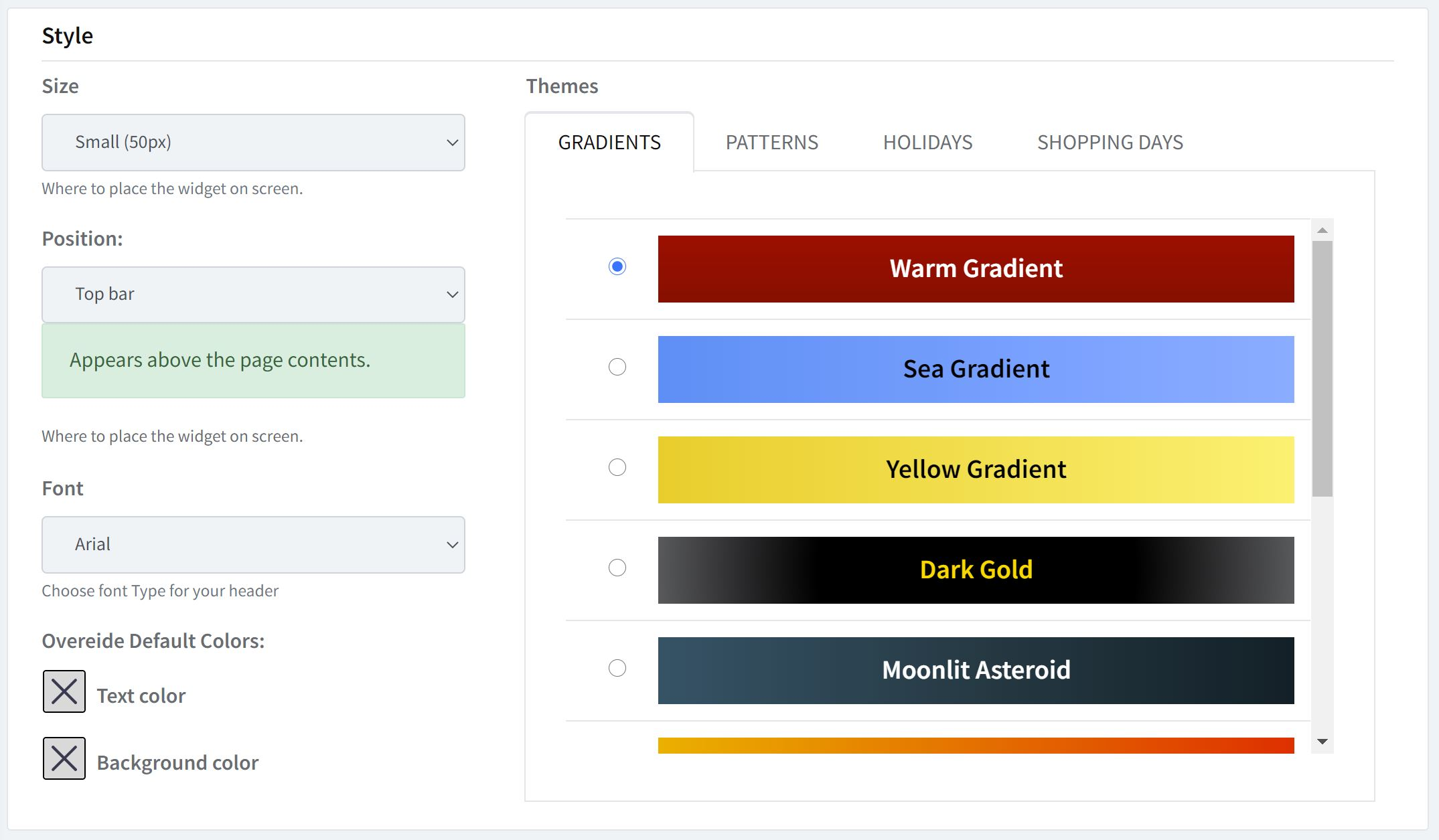 Shopify announcement bar themes and styles