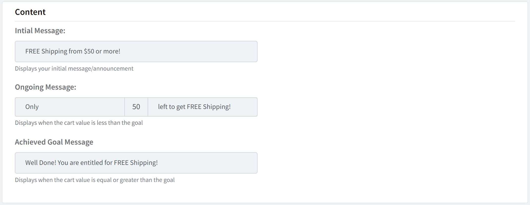 Dynamic content changes based on cart value (Free Shipping bar example)