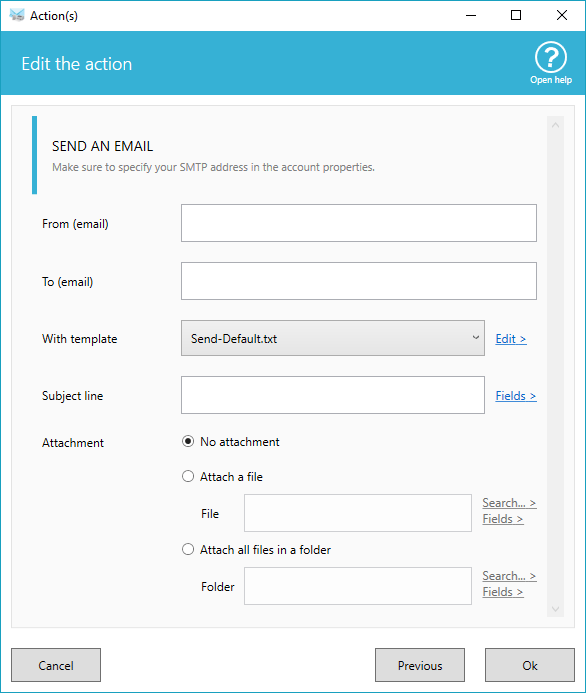 send email options