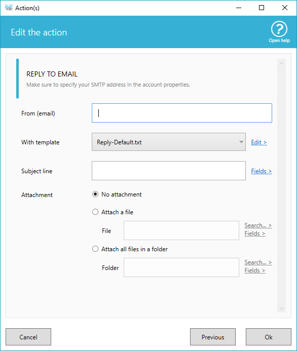 Reply email options