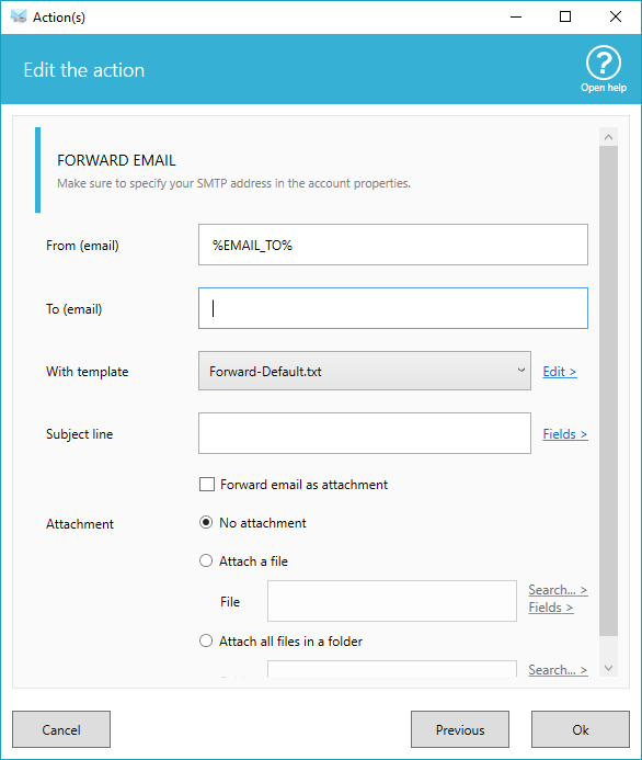 Forward email options