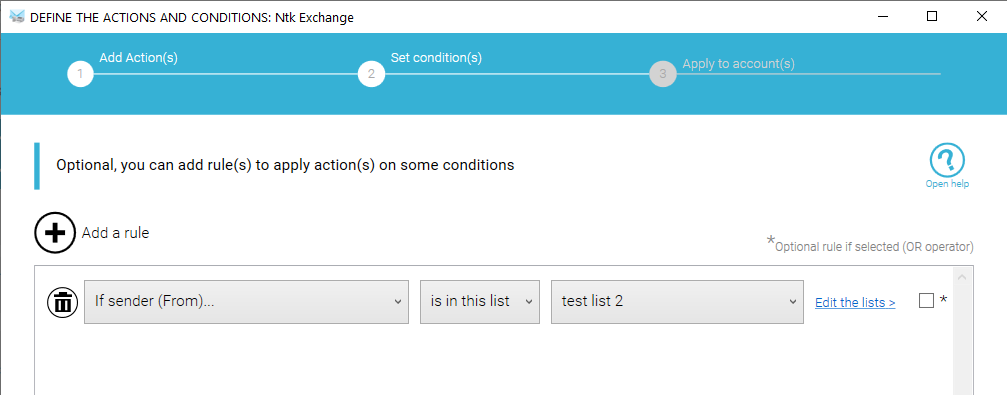 The Conditions use user list