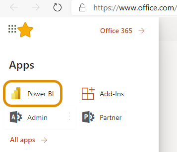 """Sometimes you will need to select """"All Apps"""" to find Power BI."""