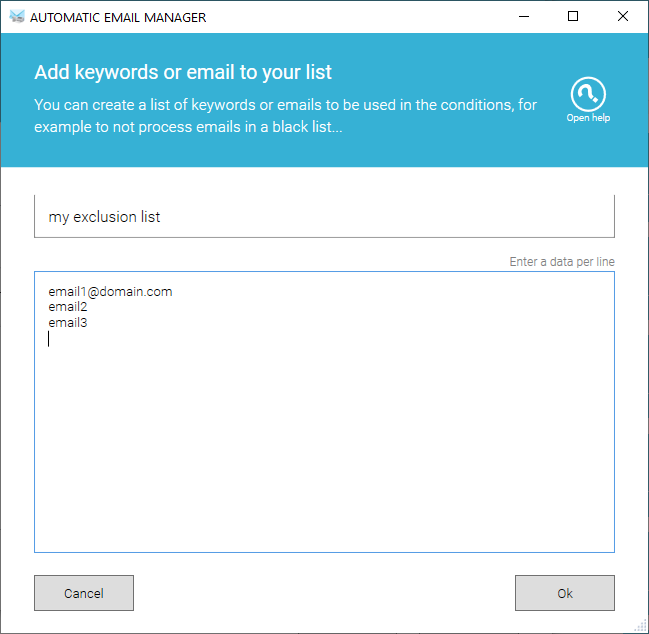 Edit the list of emails to exclude