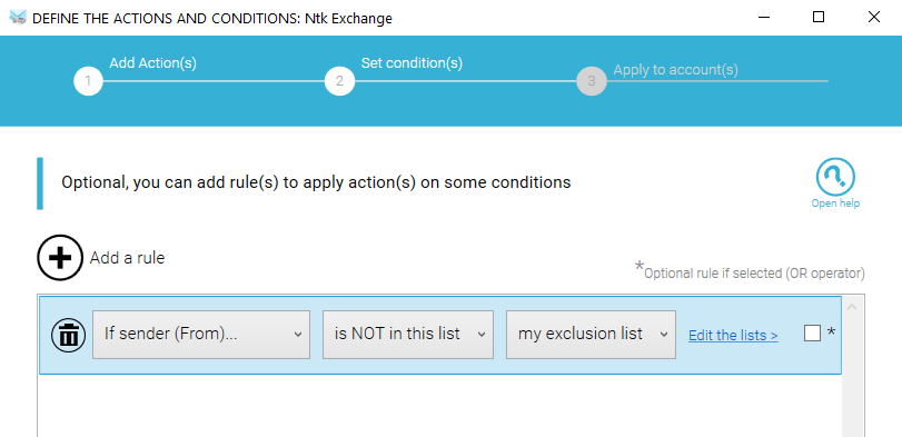 Select the list in the rule to exclude