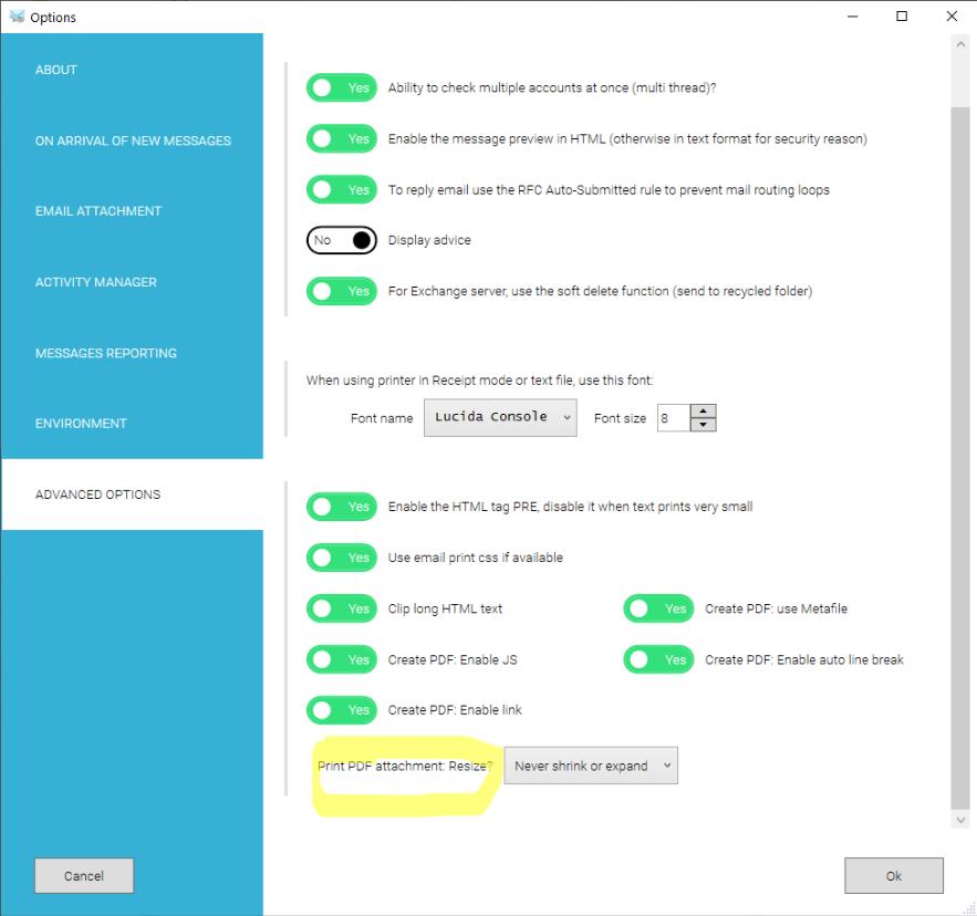 option to adjust pdf printing