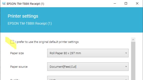 Receipt Printer settings
