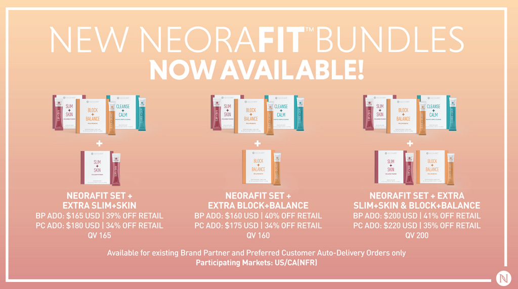 NEW NC-ORAFITMBUNDLES NOW AVAILABLE! NEORAFIT SET + EXTRA SLIM+SKIN BP ADO: $165 USD 1 39% OFF RETAIL pc ADO: $180 USD | OFF RETAIL QV 165 NEORAFIT SET + EXTRA BLOCK+BALANCE BP ADO: $160 USD 1 OFF RETAIL pc ADO: $175 USD 1 OFF RETAIL QV160 NEORAFIT SET + EXTRA SLIM+SKIN & BLOCK+BALANCE BP ADO: $200 USD 141% OFF RETAIL pc ADO: $220 USD 1 35% OFF RETAIL QV 200 Available for existing Brand Partner and Preferred Customer Auto-Delivery Orders only participating Markets: US/CAINFR)