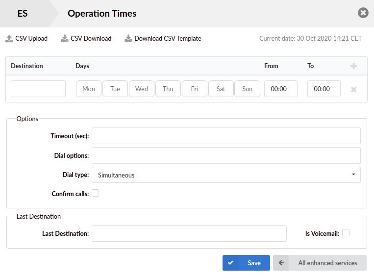 Extension's Operation Times Settings