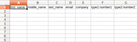 CSV template