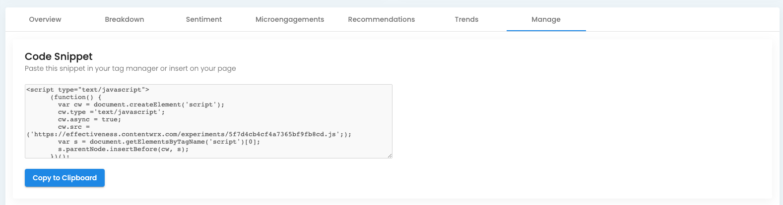 Screenshot of where to find the ContentWRX code snippet