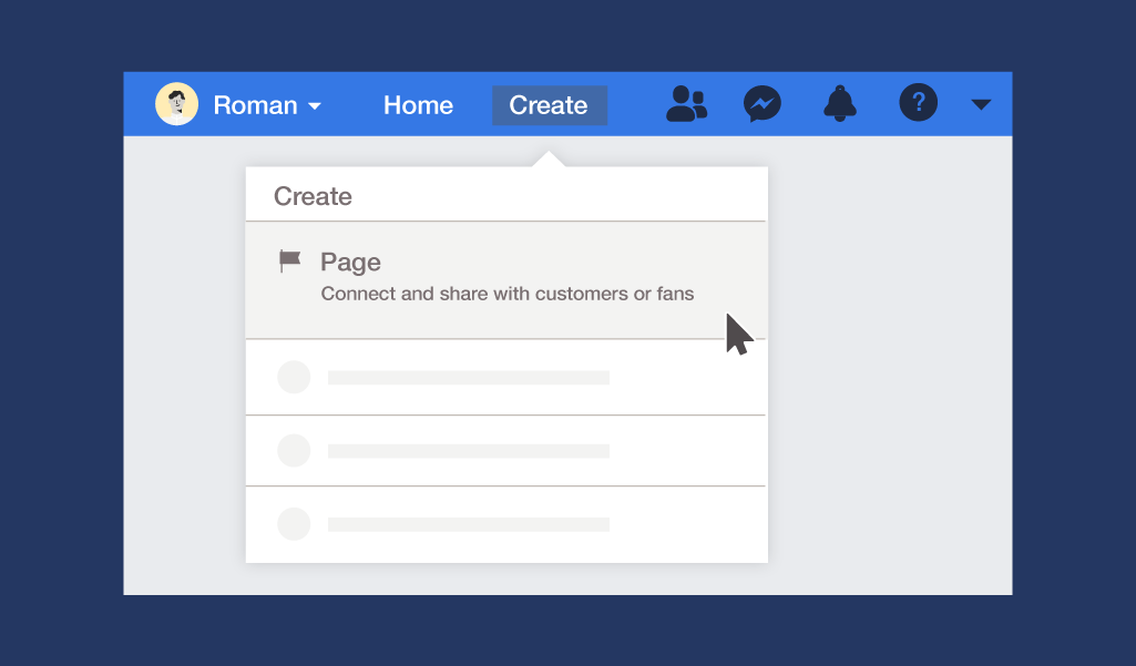 desktop instructions for creating a page