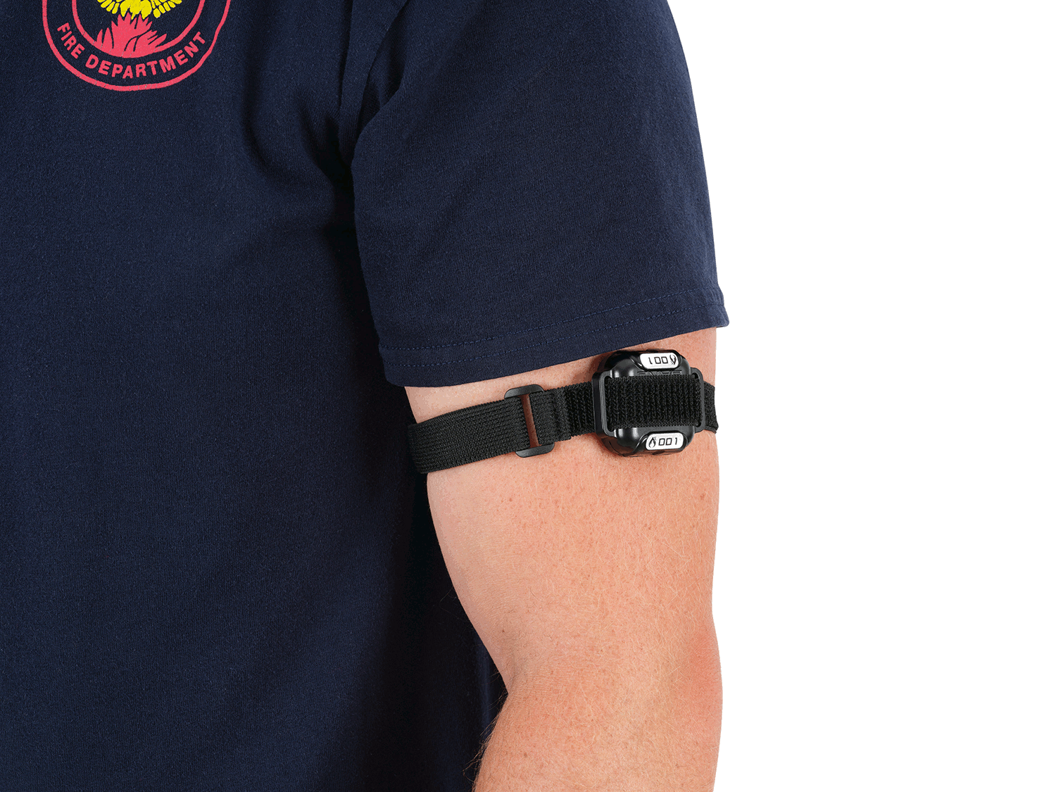 FireHUD Band worn correctly on the upper arm