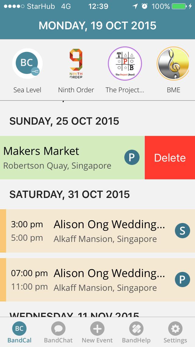 BandCal Mobile App - Delete Event