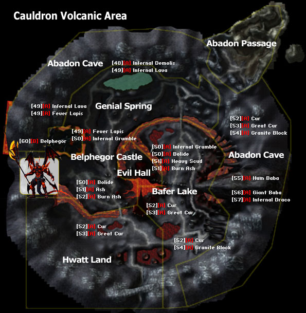 Monster Location Maps RFOnline - The great cauldron us map