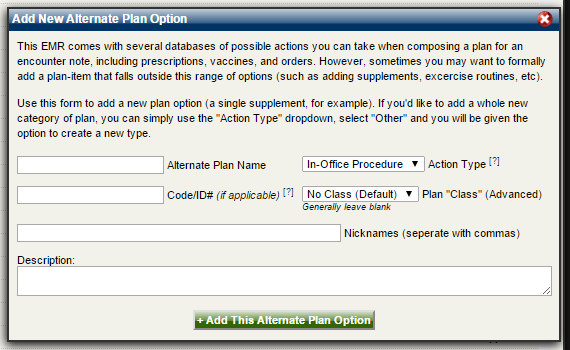 Add New Alternate Plan Option