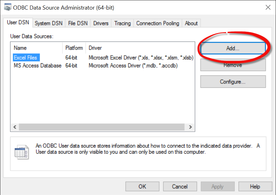 ODBC Data Source Administrator (64-bit) UI