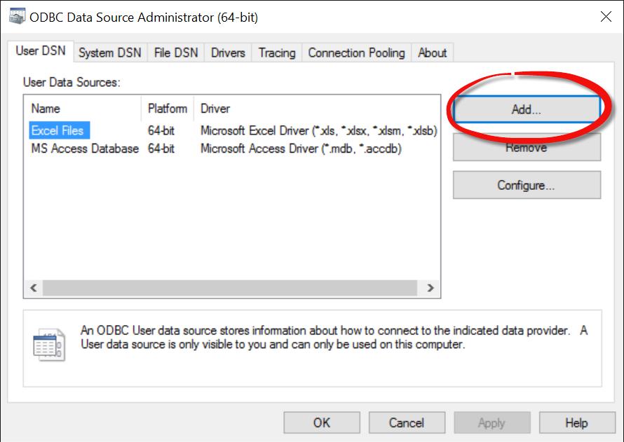 ODBC Data Source Administrator (64-bit) UI