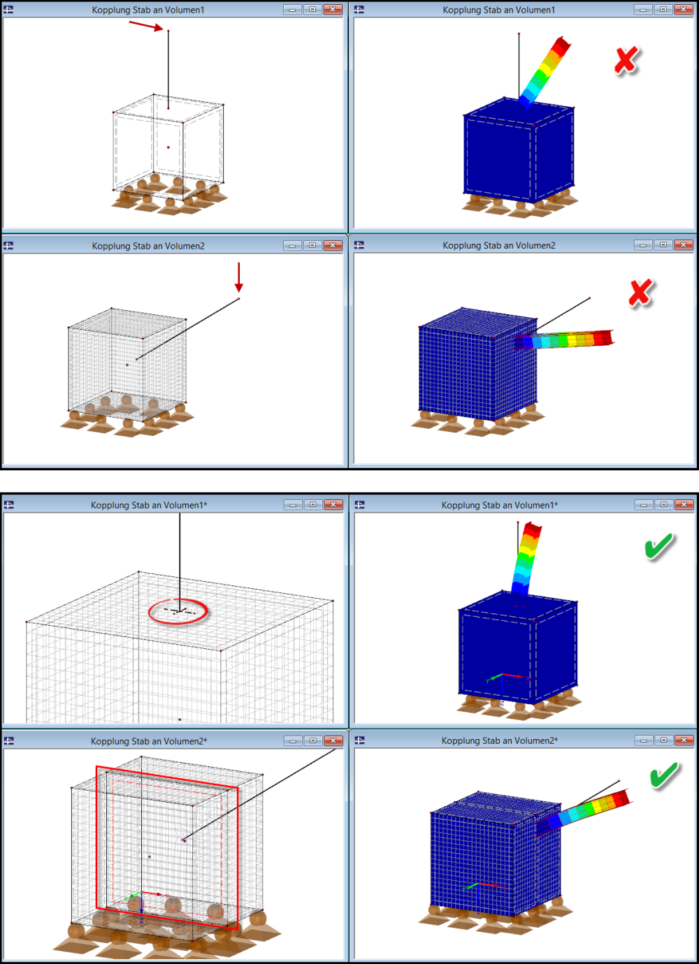Staven aan vlakken van solids verbinden in rekensoftware RFEM