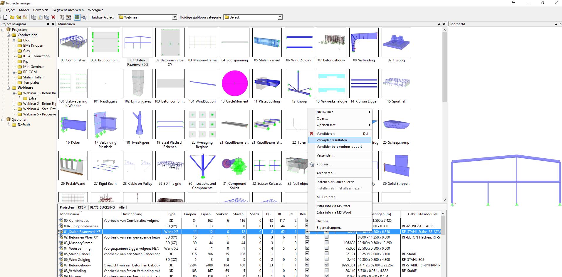 Verkleinen van bestanden in RFEM rekensoftware