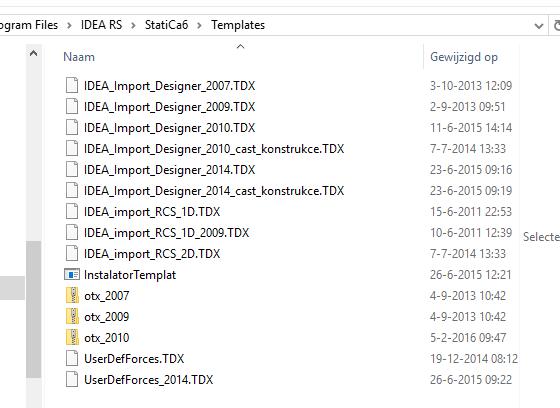 Sjablonen voor XML import in IDEA RCS