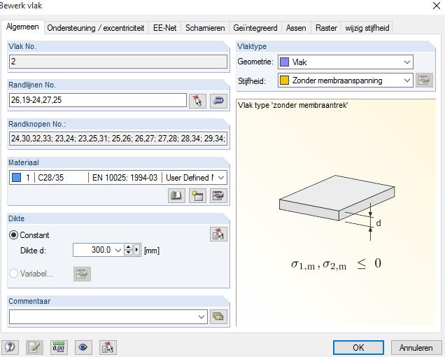 Stijfheid van vlak zonder membraamspanning in RFEM rekensoftware